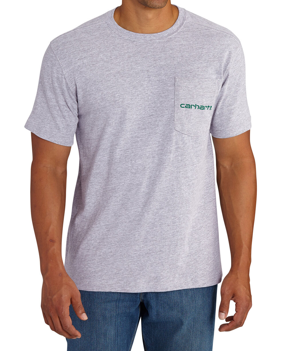 Carhartt Men's Grey Maddock Graphic Shamrock Branded 'C' Short-Sleeve T-Shirt, Grey, hi-res