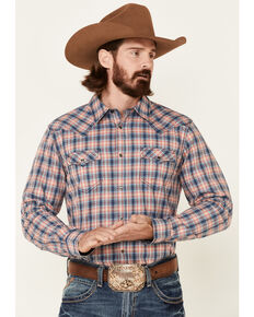 Cody James Men's Liberty Bell Large Dobby Plaid Long Sleeve Snap Western Shirt , Navy, hi-res