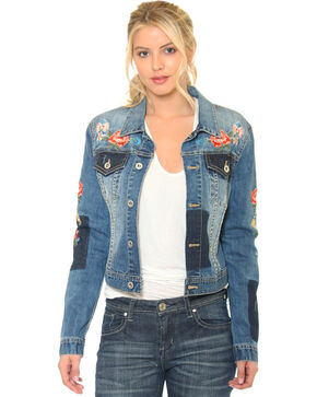 Grace in LA Women's Indigo Floral Embroidered Jean Jacket , Indigo, hi-res