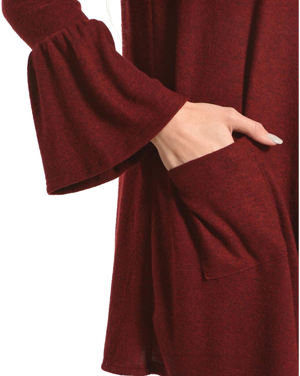 Moa Moa Burgundy Brushed Knit Bell Sleeve Cardigan, Burgundy, hi-res