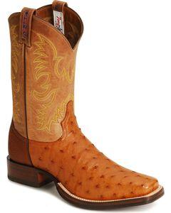 Tony Lama Full Quill Ostrich Stockman Boots, Peanut Brittle, hi-res