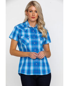 438ea315ca6438 Rough Stock by Panhandle Womens Lindsey Ombre Plaid Short Sleeve Western  Shirt , Blue, hi