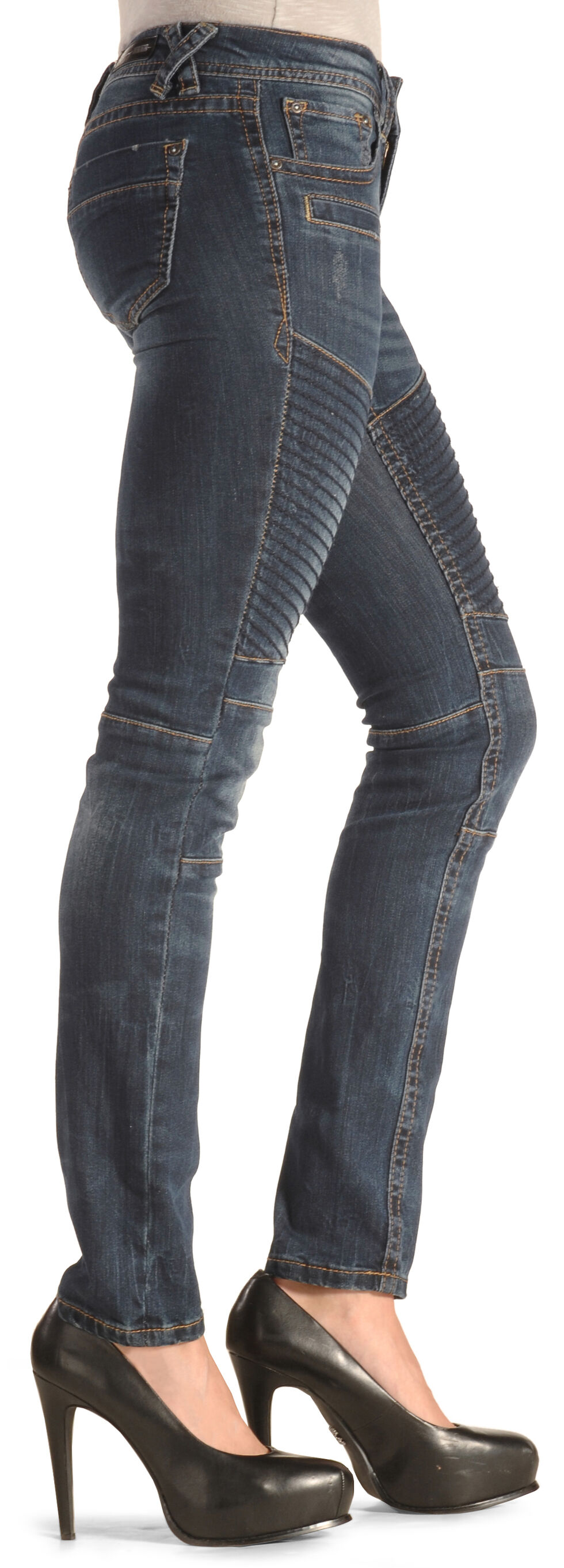Grace in LA Women's Moto Skinny Jeans , Indigo, hi-res