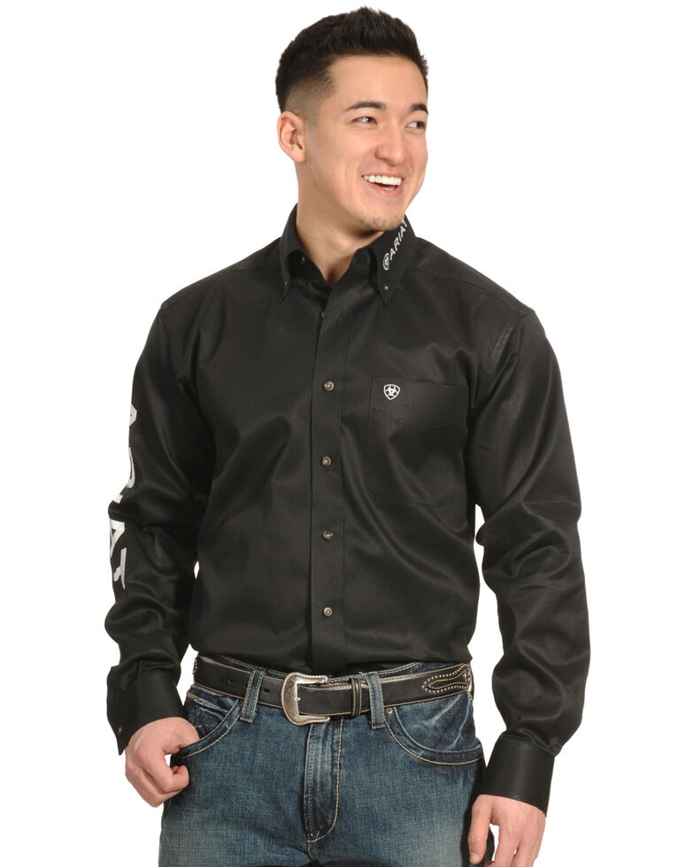 Ariat Men's Black Long Sleeve Logo Long Sleeve Western Shirt , , hi-res