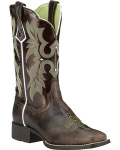 Ariat Chocolate Tombstone Boots - Wide Square Toe, Brown, hi-res