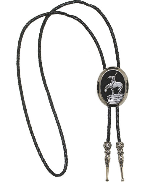 Western Express End Of The Trail Bolo Tie, Silver, hi-res