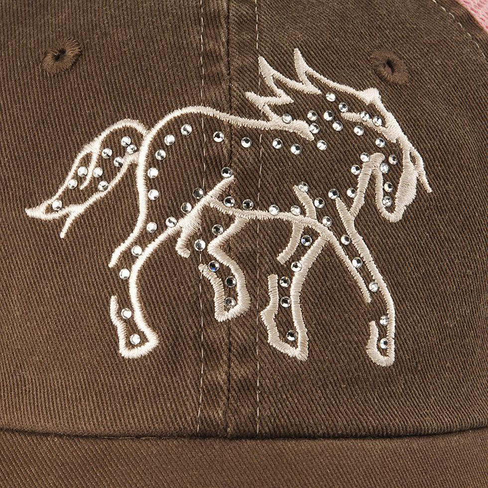Girls' Rhinestone Pony Cap, Brown, hi-res