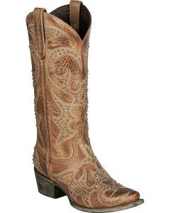 Lane Lovesick Stud Vintage Cowgirl Boots - Snip Toe, Brown, hi-res