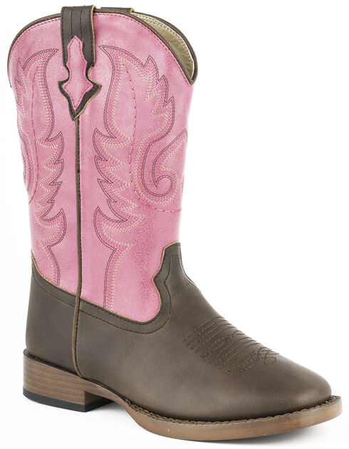 Roper Girls' Texsis Pink Cowgirl Boots - Square Toe, Brown, hi-res