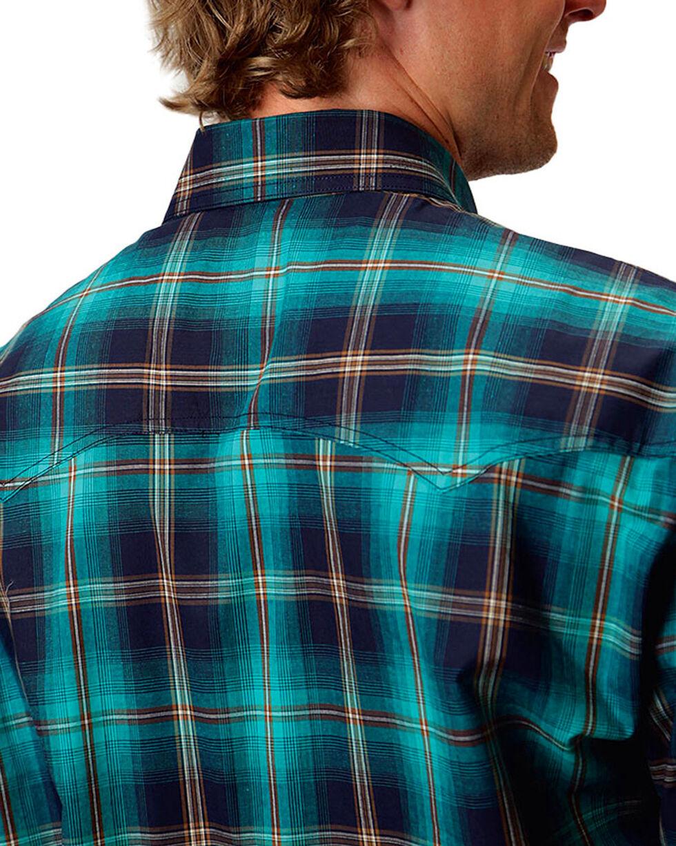 Roper Men's Plaid Western Long Sleeve Shirt, Turquoise, hi-res