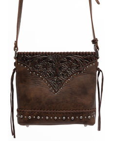 Shyanne Women's Brown Glitter Inlay Crossbody Bag, Brown, hi-res