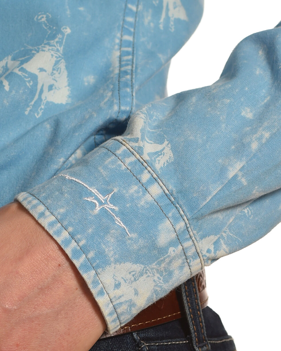 Ryan Michael Women's Cornflower Bucking Horse Print Shirt , Blue, hi-res