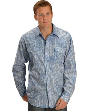 Tin Haul Blue Marble Wash Snap Western Shirt, Blue, hi-res
