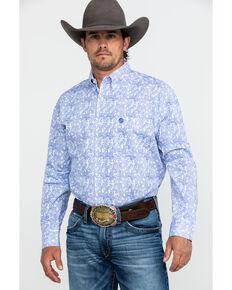 George Strait by Wrangler Men's White Paisley Print Long Sleeve Western Shirt , White, hi-res