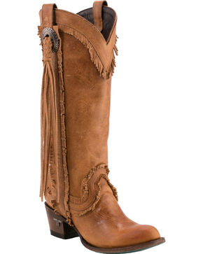 Lane Women's Sierra Fringe Boots -  Round Toe , Tan, hi-res