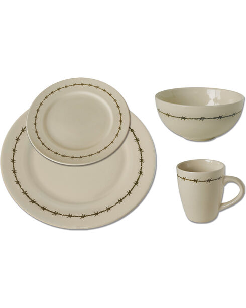 Moss Brothers 16-piece Barbwire Dinnerware Set , Ivory, hi-res