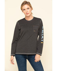 Ariat Women's Charcoal Heather Rebar Logo Long Sleeve Work Shirt, Charcoal, hi-res