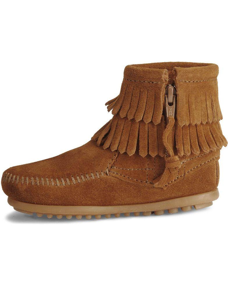 Minnetonka Girls' Double Fringe Side-Zip Moccasin Boot, Brown, hi-res