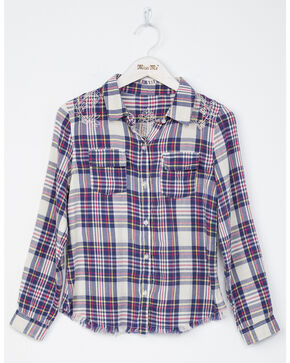 Miss Me Girls' Floral Fun Plaid Long Sleeve Shirt, Natural, hi-res