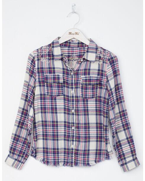 Miss Me Girls' Floral Fun Long Sleeve Plaid Shirt, Natural, hi-res