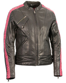 Milwaukee Leather Women's Crinkle Arm Lightweight Racer Leather Jacket - 4X, Pink/black, hi-res