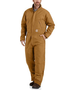 Carhartt Men's Brown Washed Duck Insulated Coveralls , Brown, hi-res