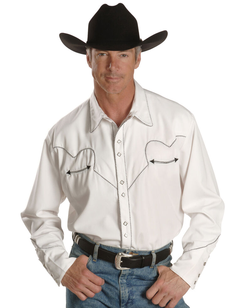 Scully White Retro Western Shirt - Big & Tall, White, hi-res