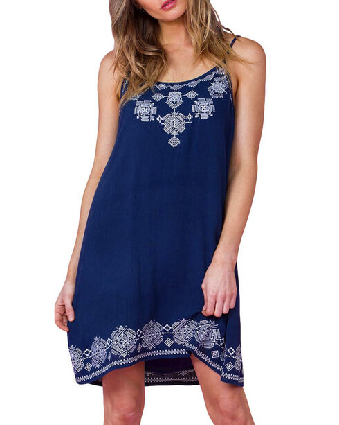 Miss Me Women's Navy Crochet Sundress , Navy, hi-res