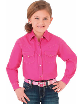 Wrangler Girls' Pink Arrow Embroidery Western Shirt , Pink, hi-res