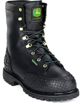 John Deere Men's Black Waterproof Insulated Lace-Up Work Boots - Steel Toe , Black, hi-res