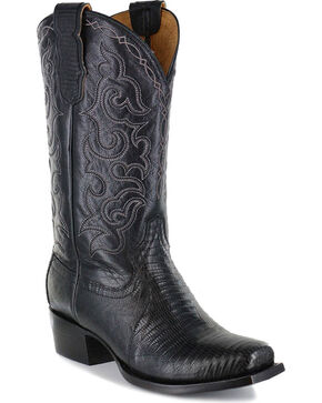Moonshine Spirit Men's Louisiana Teju Lizard Exotic Western Boots - Snip Toe, Black, hi-res