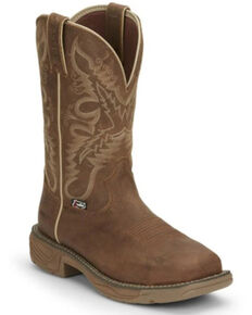 Justin Women's Rush Waterproof Western Work Boots - Soft Toe, Tan, hi-res
