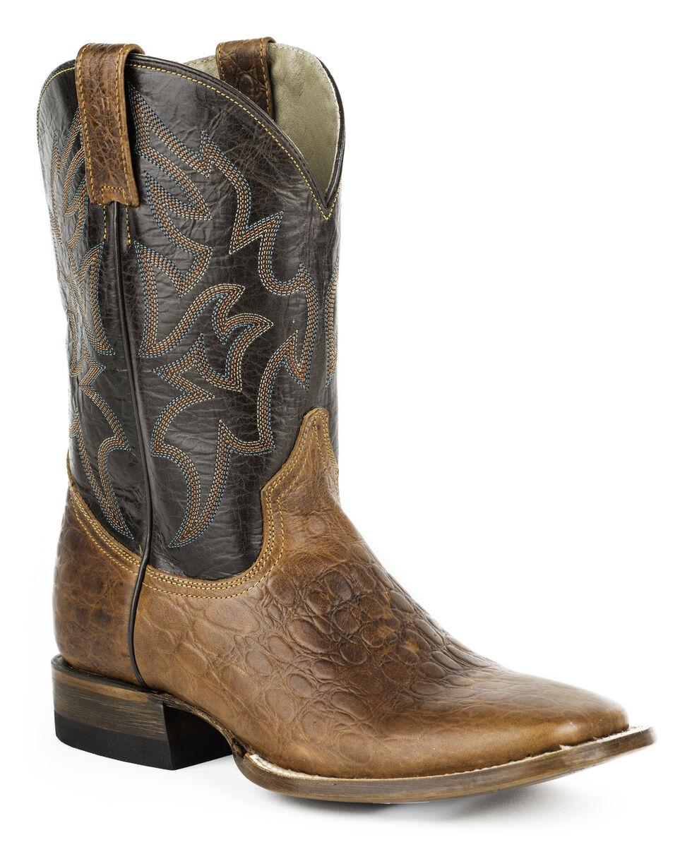 Roper Sea Turtle Print Tall Cowboy Boots - Wide Square Toe, Brown, hi-res