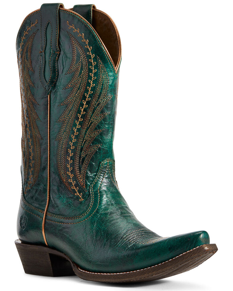 Ariat Women's Leather Tailgate Peacock Blue Western Boots - Snip Toe, Blue, hi-res