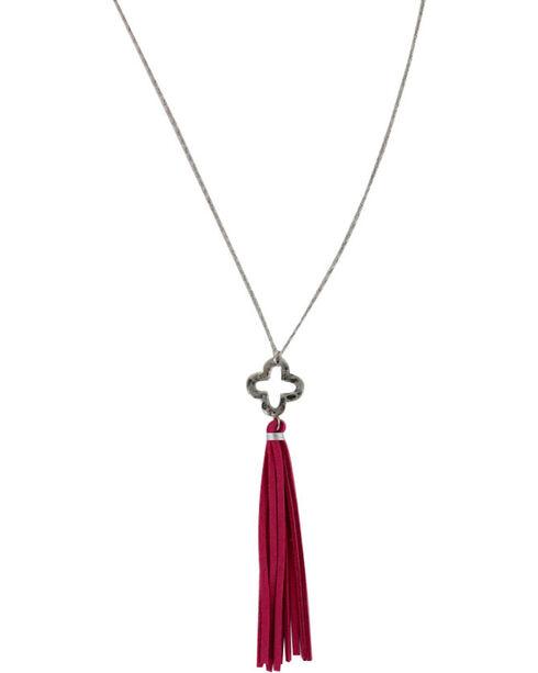 Shyanne® Women's Pink Tassel Charm Necklace, Silver, hi-res