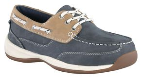 Rockport Works Women's Sailing Club Boat Shoes - Steel Toe, Blue, hi-res