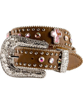 Nocona Girls Rhinestone Cross Leather Belt - 18-26, Brown, hi-res