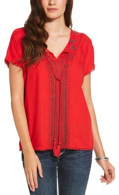 Ariat Women's Red Bandon Top, Red, hi-res