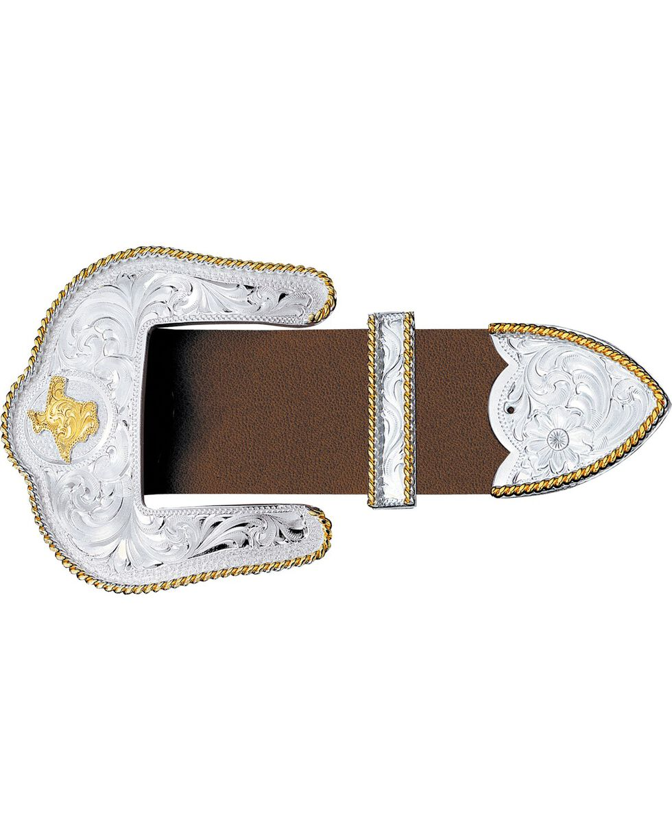 Montana Silversmiths Texas State Engraved 3-Piece Belt Buckle Set, Silver, hi-res