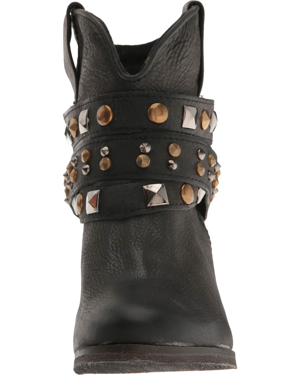 Circle G Women's Black Studded Strap Short Boots - Round Toe , Black, hi-res
