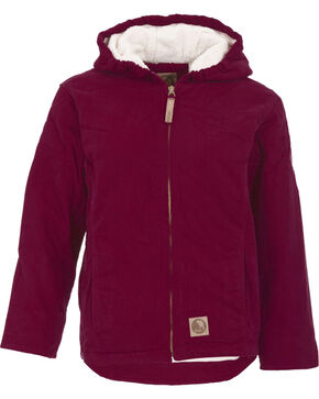 Berne Youth Girls' Washed Sherpa-Lined Hooded Jacket, Plum, hi-res