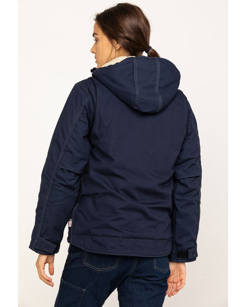 Carhartt Women's FR Full Swing Quick Duck Sherpa-Lined FR Jacket, Navy, hi-res