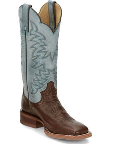 Justin Women's Ralston Exotic Smooth Ostrich Skin Western Boots - Square Toe, Chocolate, hi-res