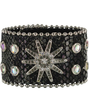 Shyanne® Women's Snake Print Leather Bracelet Band, Black, hi-res