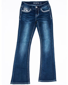 Grace in LA Girls' Medium Flower Wing Straight Jeans , Blue, hi-res