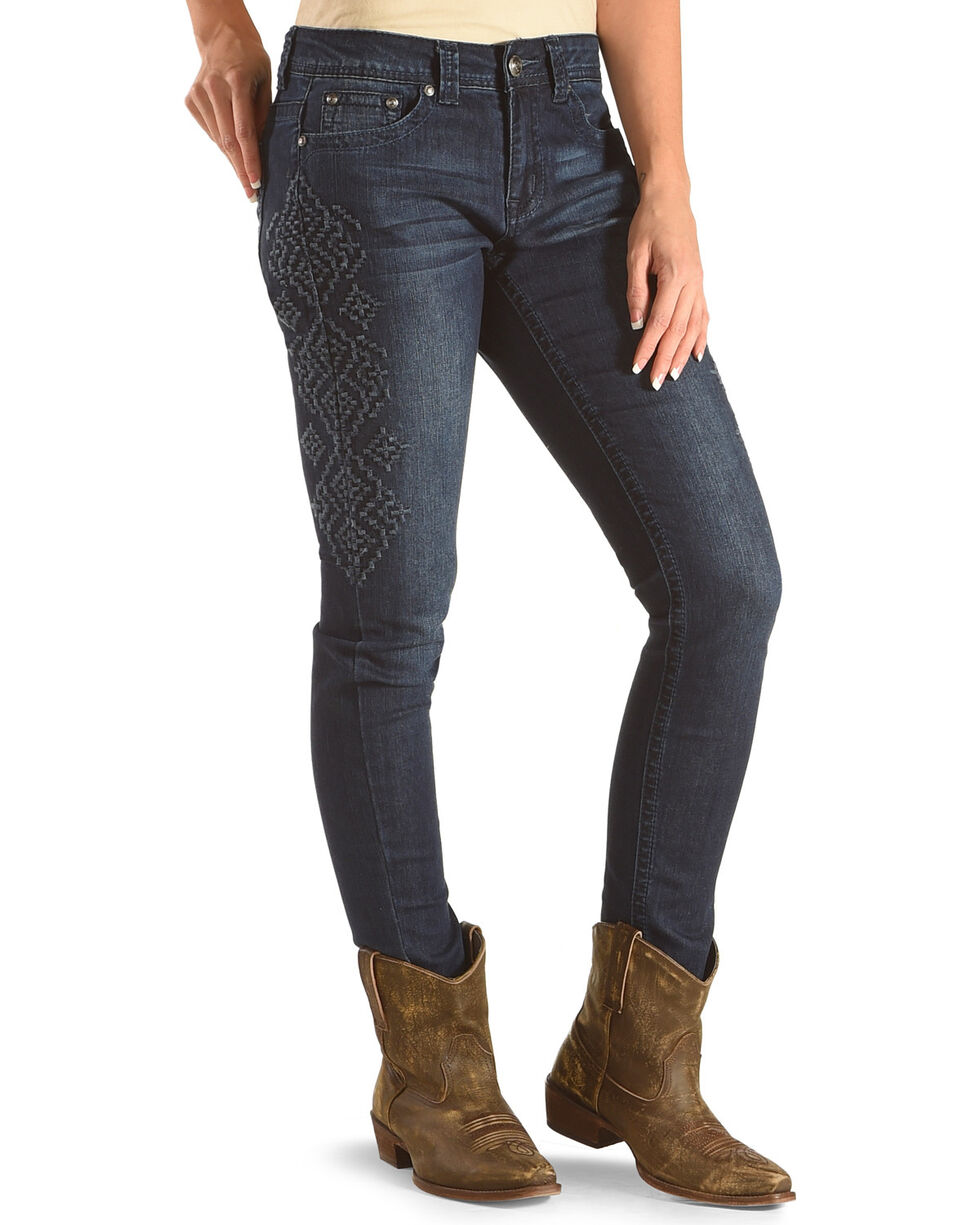 Shyanne Women's Mid-Rise Aztec Embroidered Jeans  - Skinny, Blue, hi-res