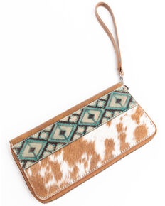 Shyanne Women's Brindle Wallet With Aztec Panel, Tan, hi-res