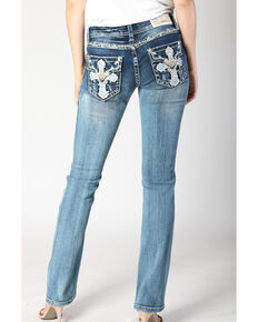 Grace in LA Women's Medium Wash Cross Bootcut Jeans , Blue, hi-res