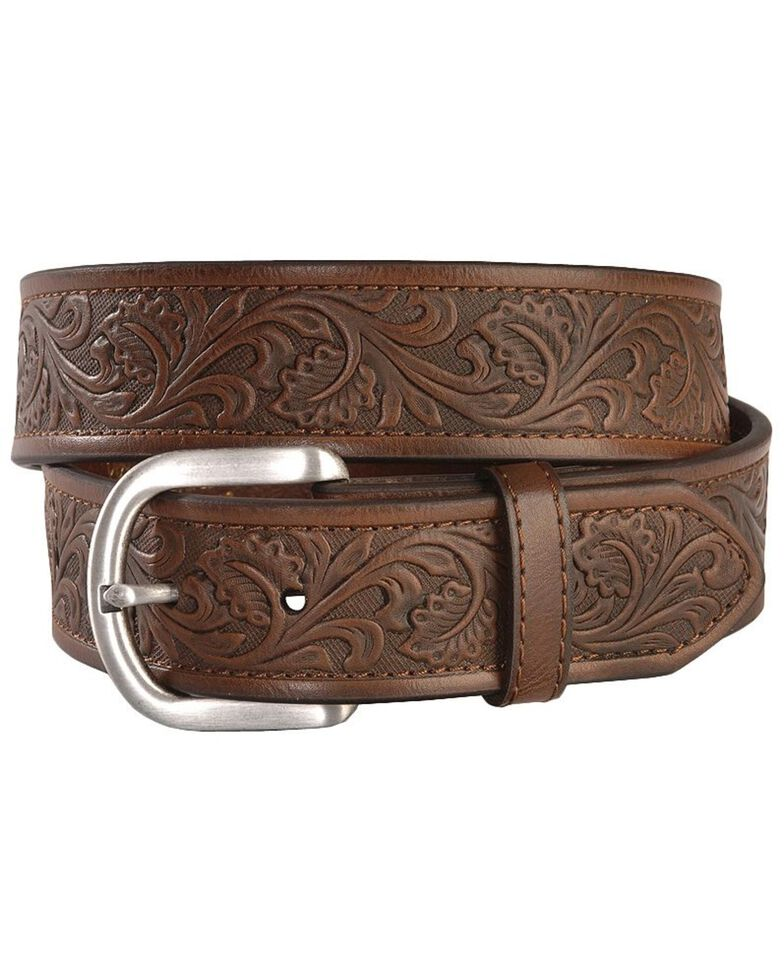 Ariat Golden Tooled Western Belt - Reg & Big, Brown, hi-res