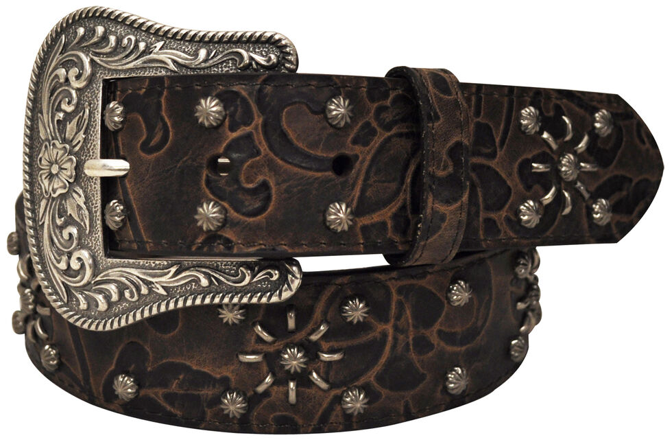 Roper Women's Brown Floral Print Belt, Brown, hi-res